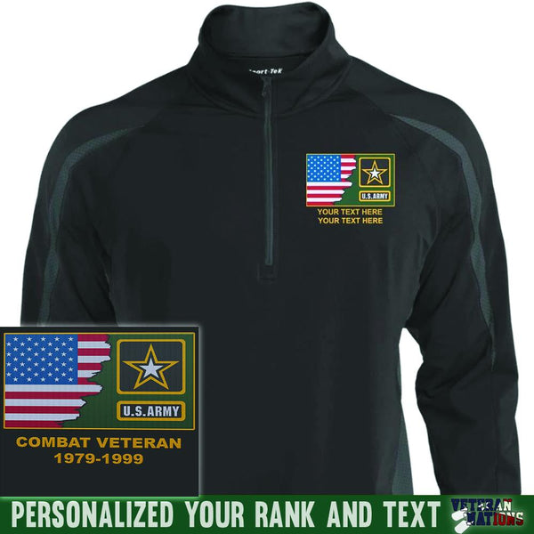 US Army Logo - Personalized Embroidered Sport-Tek® ST851 Sport-Tek Men's Sport Wicking Colorblock 1/2 Zip