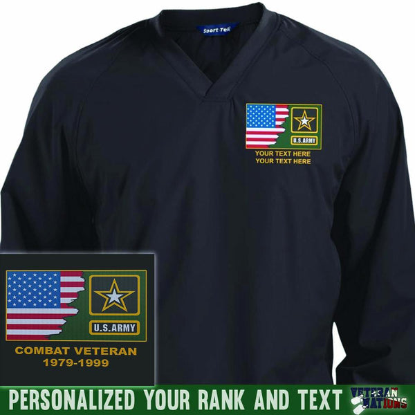 US Army Logo - Personalized Embroidered Sport-Tek® Pullover V-Neck Windshirt