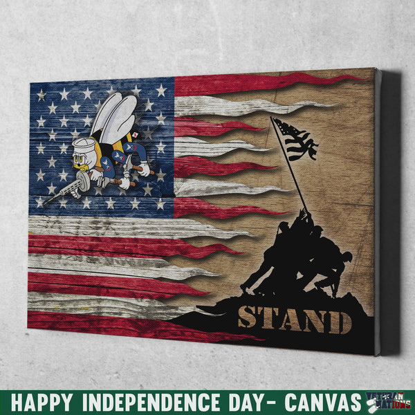 US Navy Seabees Stand For The Flag 12x8 Inches Landscape Canvas .75in Frame
