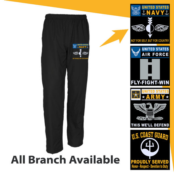 US Military Insignia Military Mottos Embroidered Men's Wind Pants