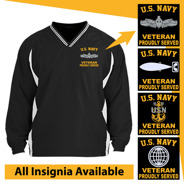 US Navy Insignia Veteran Proudly Served Embroidered Windshirt
