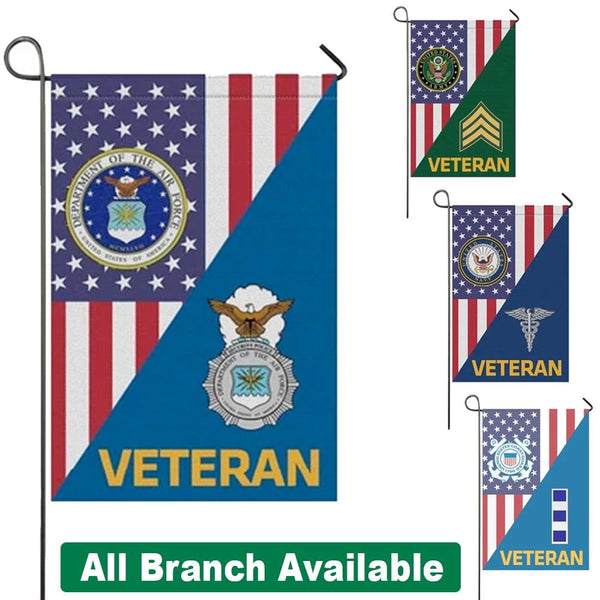 US Military Insignia Veteran With America Flag Garden Flag/Yard Flag 12 Inch x 18 Inch Twin-Side Printing