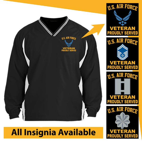 US Air Force Insignia Veteran Proudly Served Embroidered Windshirt