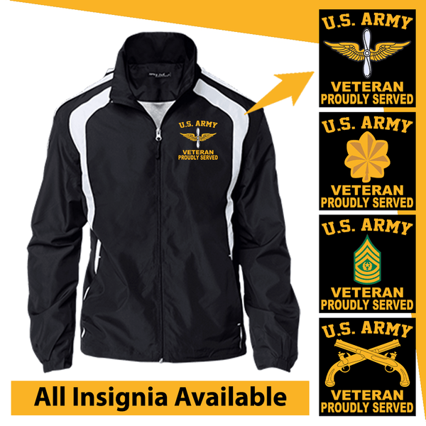 US Army Insignia Veteran Proudly Served Embroidered Jersey-Lined Jacket