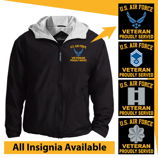 US Air Force Insignia Veteran Proudly Served Embroidered Team Jacket