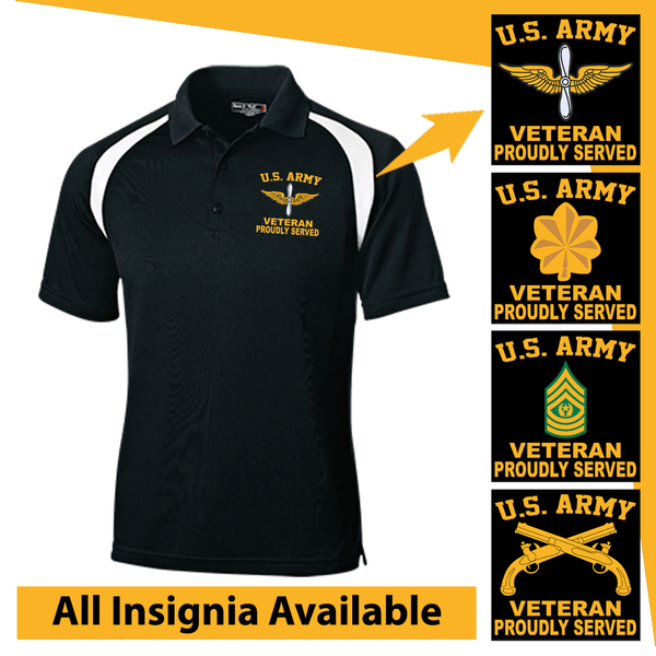 US Army Insignia Veteran Proudly Served Embroidered Golf Shirt