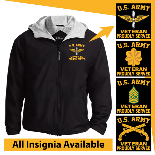 US Army Insignia Veteran Proudly Served Embroidered Team Jacket