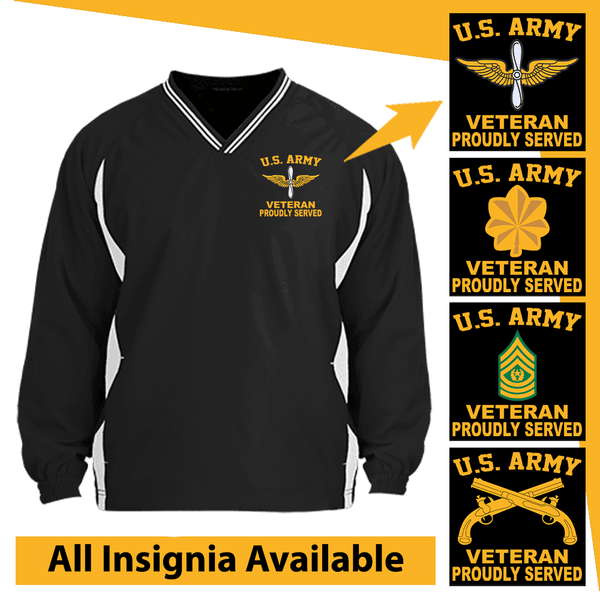 US Army Insignia Veteran Proudly Served Embroidered Windshirt