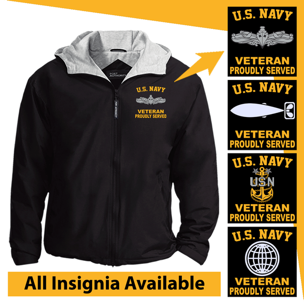 US Navy Insignia Veteran Proudly Served Embroidered Team Jacket