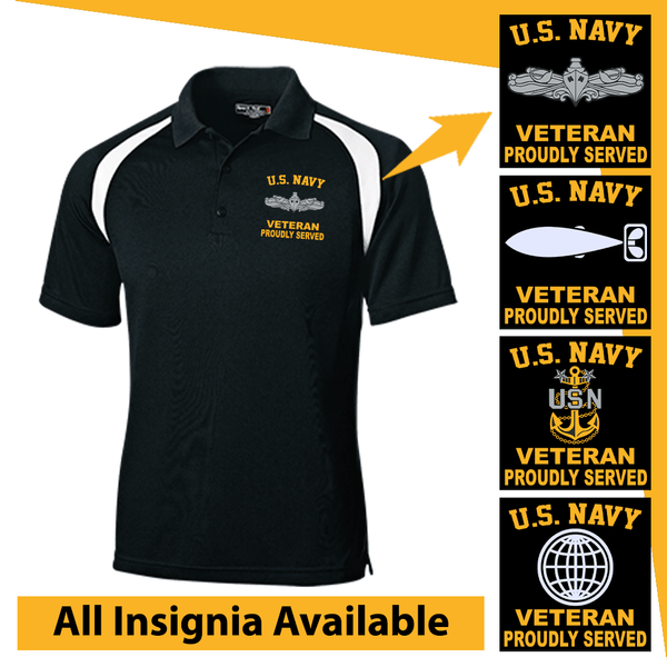 US Navy Insignia Veteran Proudly Served Embroidered Golf Shirt