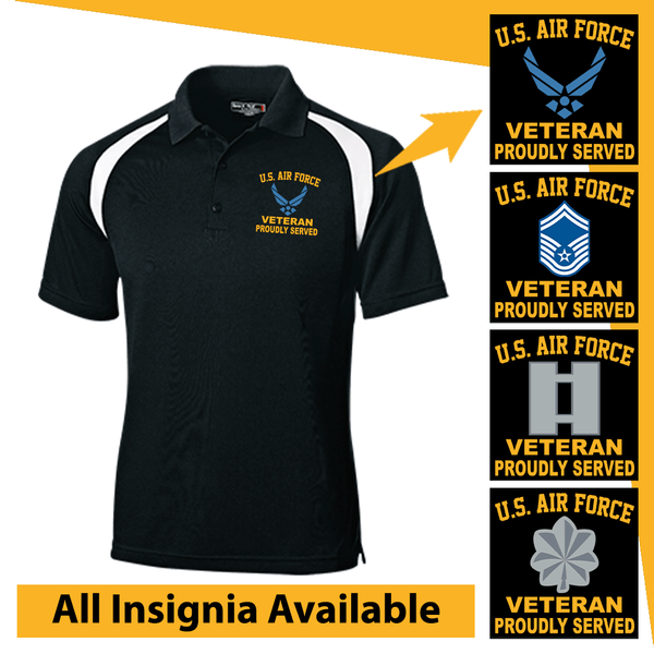 US Air Force Insignia Veteran Proudly Served Embroidered Golf Shirt