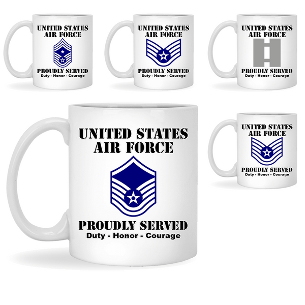 US Air Force Insignia Proudly Served Core Values 11oz - 15oz White Mug