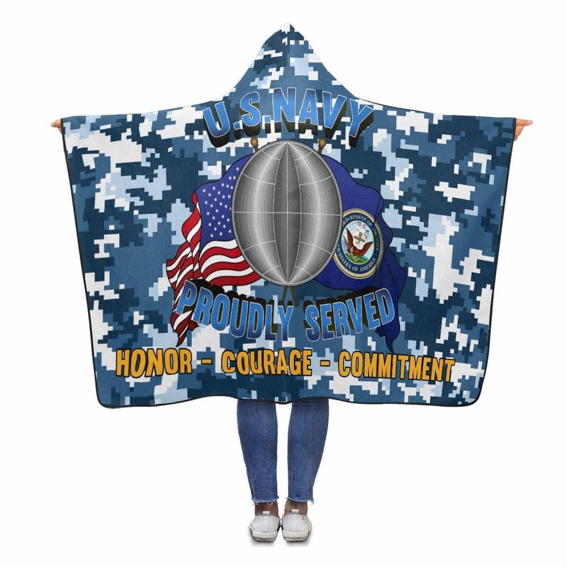 U.S Navy Electrician's mate Navy EM Proudly Served Hooded Blanket