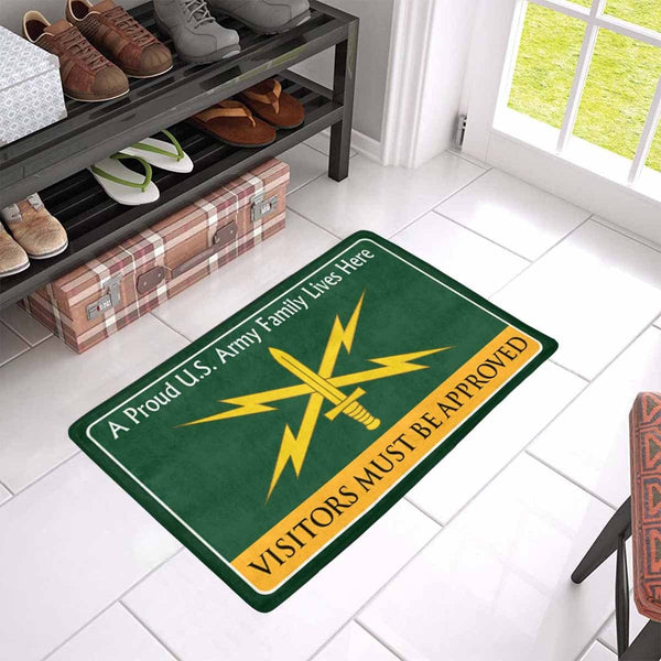 U.S. Army Cyber Corps Family Doormat - Visitors must be approved Doormat (23.6 inches x 15.7 inches)