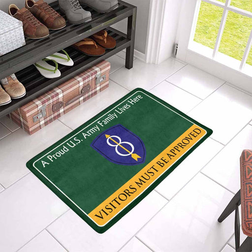 US Army 8th Infantry Division Family Doormat - Visitors must be approved Doormat (23.6 inches x 15.7 inches)