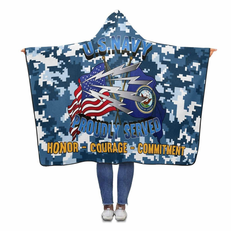 U.S Navy Radioman Navy RM Proudly Served Hooded Blanket