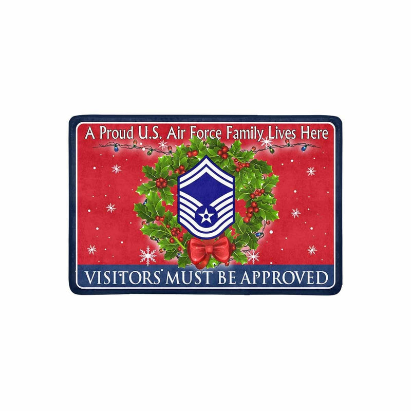 US Air Force E-8 Senior Master Sergeant SMSgt E8 Noncommissioned Officer AF Rank - Visitors must be approved - Christmas Doormat