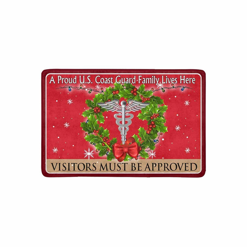 US Coast Guard Health Services Technician HS Logo - Visitors must be approved Christmas Doormat