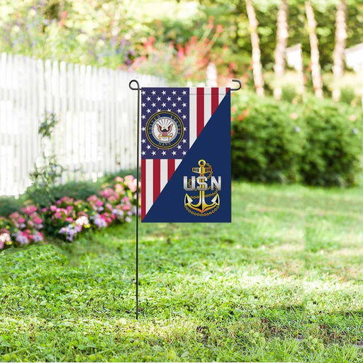 US Navy E-7 Chief Petty Officer E7 CPO Senior Noncommissioned Officer Collar Device Garden Flag/Yard Flag 12 inches x 18 inches Twin-Side Printing