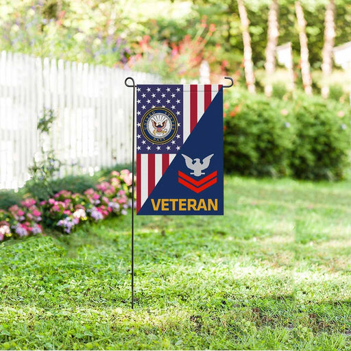 US Navy E-5 Petty Officer Second Class E5 PO2 Collar Device Veteran Garden Flag/Yard Flag 12 inches x 18 inches Twin-Side Printing