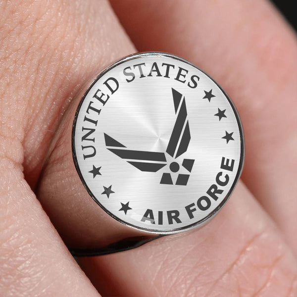 U.S Air Force Logo 18K Gold Finish - Stainless Steel Signet Ring