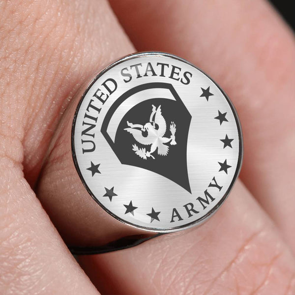 US Army E-5 SPC E5 SP5 Specialist 5 Specialist 2nd Class 18K Gold Finish - Stainless Steel Signet Ring