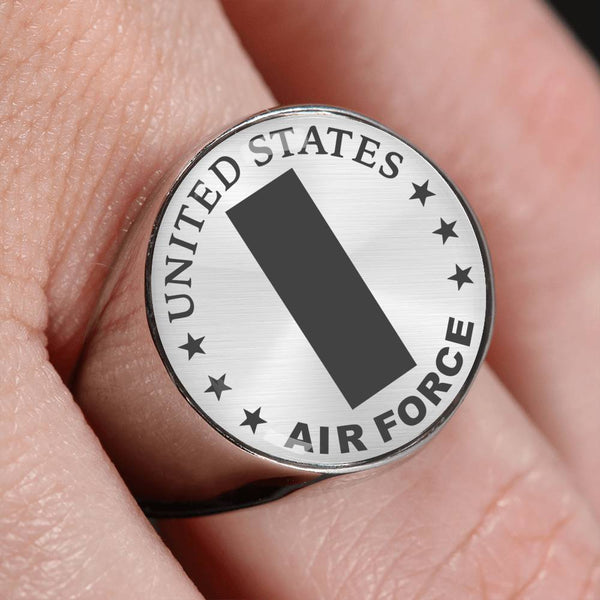 US Air Force O-2 First Lieutenant 1st L O2 Commissioned Officer 18K Gold Finish - Stainless Steel Signet Ring