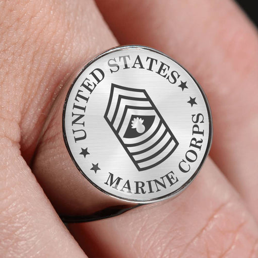 USMC E-9 Master Gunnery Sergeant E9 MGySg Staff Noncommissioned Officer - 18K Gold Finish - Stainless Steel Signet Ring