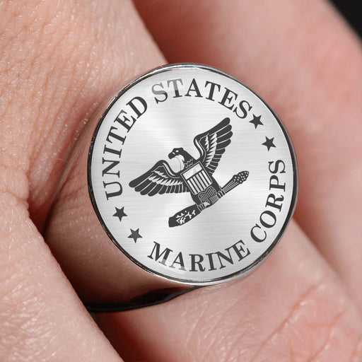 USMC O-6 Colonel O6 Col USMC O6 Field Officer - 18K Gold Finish - Stainless Steel Signet Ring
