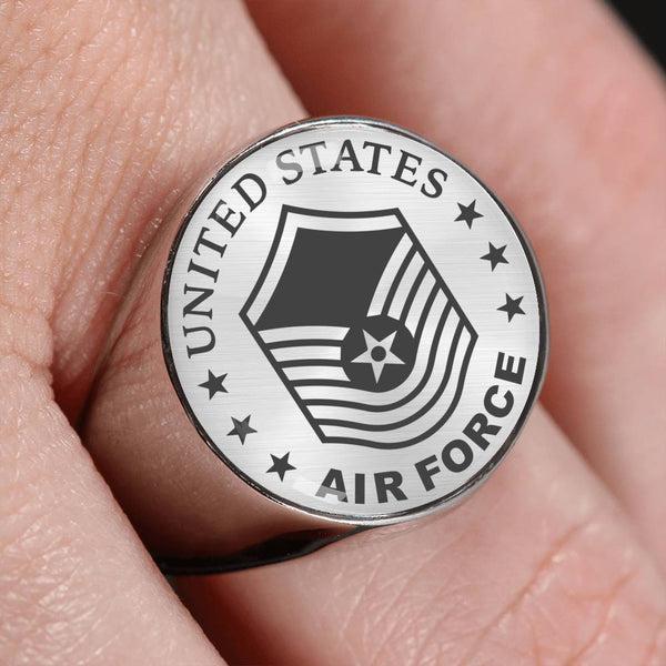 US Air Force E-8 Senior Master Sergeant SMSgt E8 Old Style 18K Gold Finish - Stainless Steel Signet Ring
