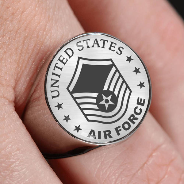 US Air Force E-7 Master Sergeant MSgt E7 Noncommissioned Officer 18K Gold Finish - Stainless Steel Signet Ring