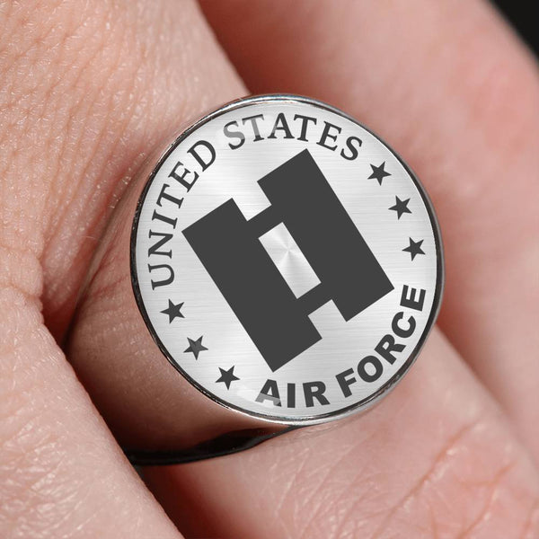 US Air Force O-3 Captain Capt O3 Commissioned Officer 18K Gold Finish - Stainless Steel Signet Ring