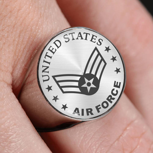 US Air Force E-4 Senior Airman SrA E4 Enlisted Airman 18K Gold Finish - Stainless Steel Signet Ring