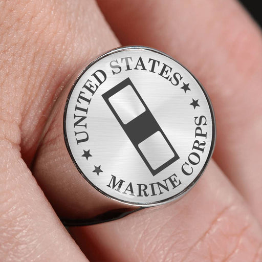 USMC W-1 Warrant Officer 1 WO1 USMC W1 Warrant Officer - 18K Gold Finish - Stainless Steel Signet Ring