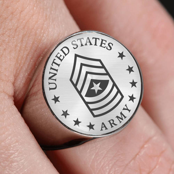 US Army E-9 Sergeant Major E9 SGM Noncommissioned Officer 18K Gold Finish - Stainless Steel Signet Ring