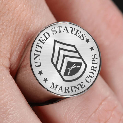 USMC E-6 Staff Sergeant E6 SSgt Staff Noncommissioned Officer - 18K Gold Finish - Stainless Steel Signet Ring