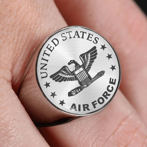 US Air Force O-6 Colonel Col O6 Field Officer 18K Gold Finish - Stainless Steel Signet Ring
