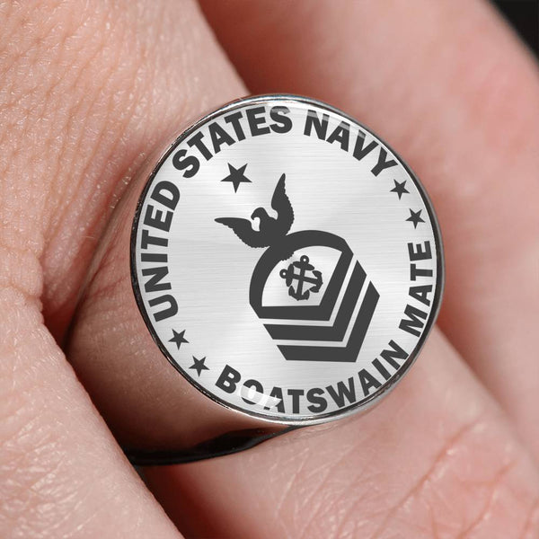 U.S Navy Boatswain's Mate Navy BM E-8 Rating 18K Gold Finish - Stainless Steel Signet Ring