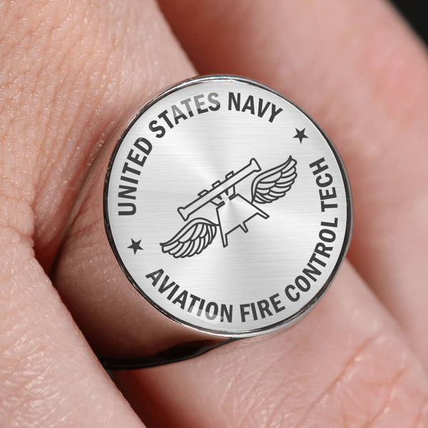 US Navy Aviation Fire Control Tech Navy AQ  - 18K Gold Finish - Stainless Steel Signet Ring