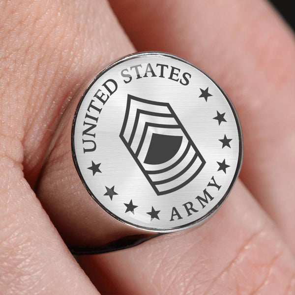 US Army E-8 Master Sergeant E8 MSG Noncommissioned Officer 18K Gold Finish - Stainless Steel Signet Ring
