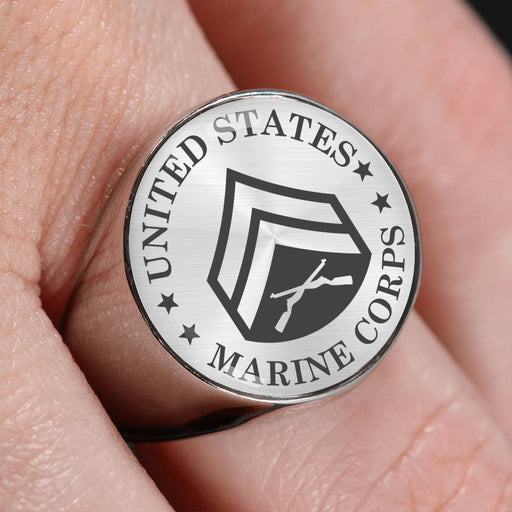 USMC E-4 Corporal E4 Cpl Noncommissioned Officer - 18K Gold Finish - Stainless Steel Signet Ring