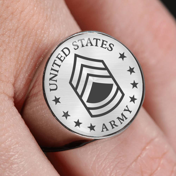 US Army E-7 Sergeant First Class E7 SFC Noncommissioned Officer 18K Gold Finish - Stainless Steel Signet Ring