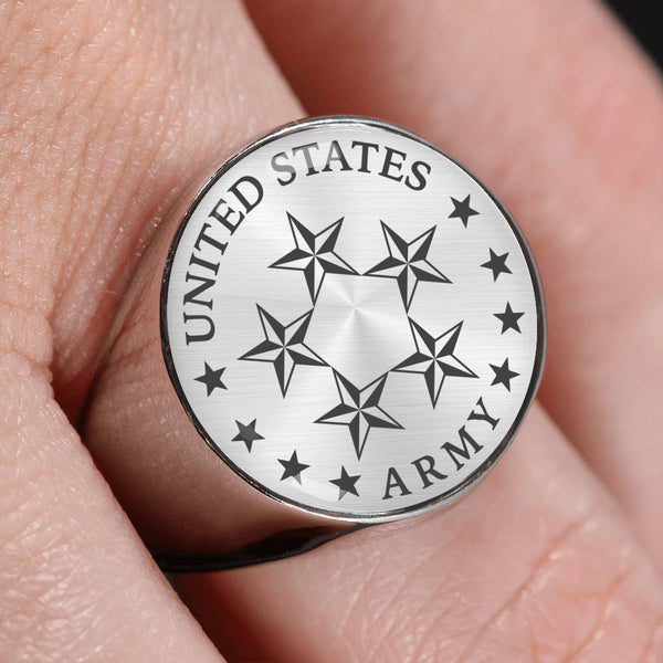 US Army O-10 General of the Army O10 GA General Officer 18K Gold Finish - Stainless Steel Signet Ring