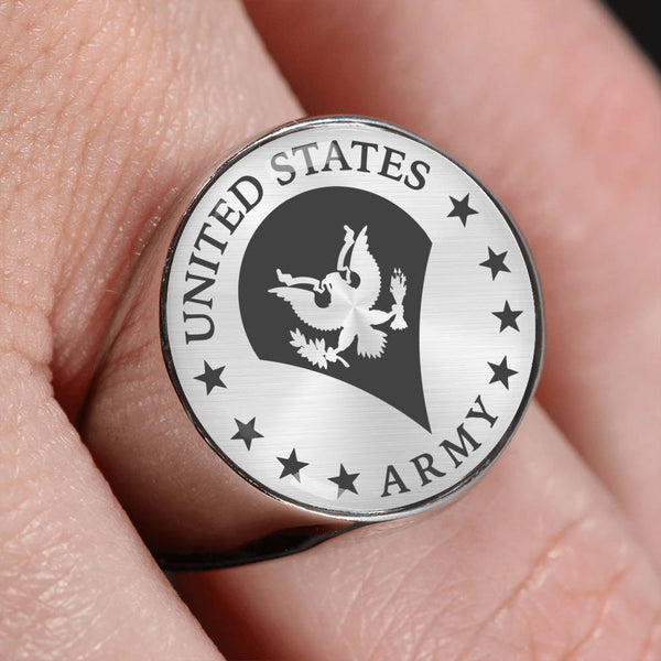 US Army E-4 SPC E4 SP4 Specialist 4 Specialist 3rd Class 18K Gold Finish - Stainless Steel Signet Ring