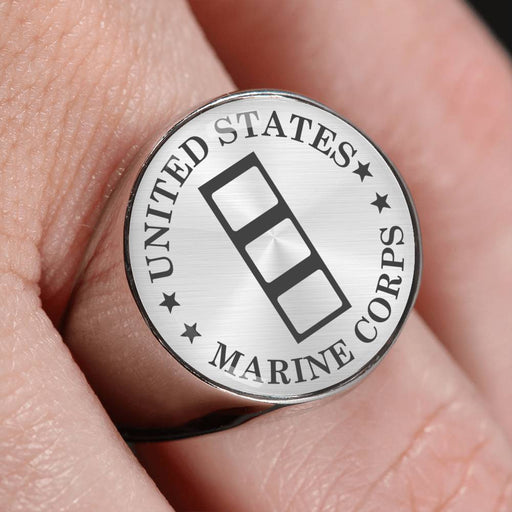 USMC W-4 Chief Warrant Officer 4 CWO4 USMC W4 Warrant Officer - 18K Gold Finish - Stainless Steel Signet Ring