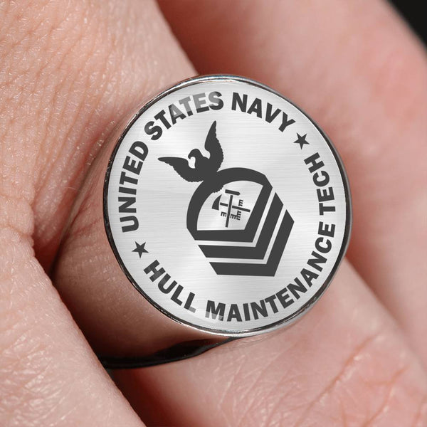 US Navy Hull Maintenance Technician HT E-7 - 18K Gold Finish - Stainless Steel Signet Ring