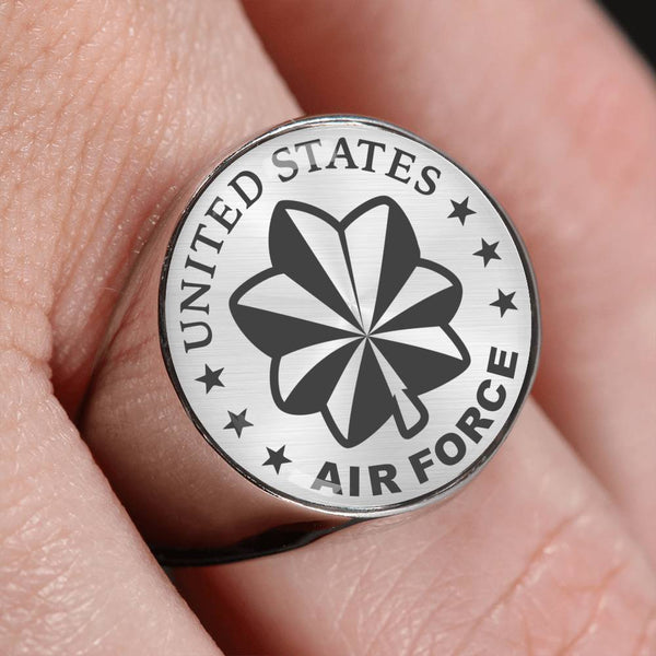 US Air Force O-4 Major Maj O4 Field Officer 18K Gold Finish - Stainless Steel Signet Ring