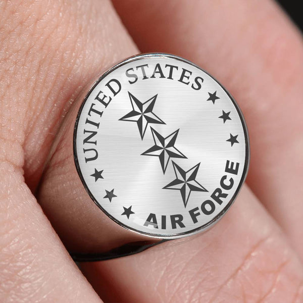 US Air Force O-9 Lieutenant General Lt Ge O9 General Officer 18K Gold Finish - Stainless Steel Signet Ring