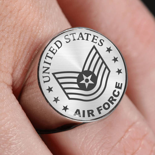 US Air Force E-6 Technical Sergeant TSgt E6 Noncommissioned Officer 18K Gold Finish - Stainless Steel Signet Ring