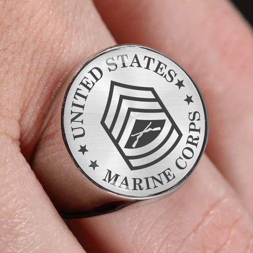USMC E-7 Gunnery Sergeant E7 GySgt Staff Noncommissioned Officer - 18K Gold Finish - Stainless Steel Signet Ring